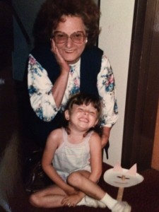 """My Grandmother and I, after my stage debut as """"Third Pig""""."""